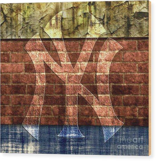 New York Yankees Brick 2 Wood Print