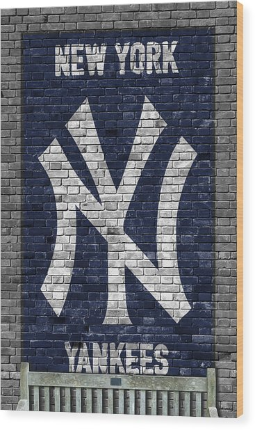 New York Yankees Brick Wall Wood Print