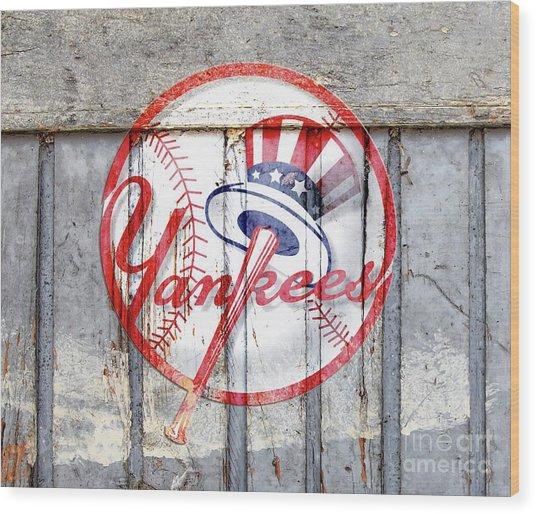 New York Yankees Top Hat Rustic 2 Wood Print