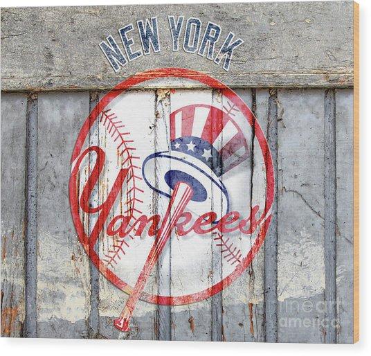 New York Yankees Top Hat Rustic Wood Print