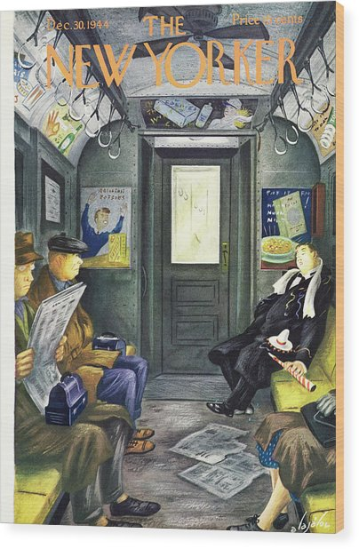 New Yorker Magazine Cover Of A Man Sleeping Wood Print by Constantin Alajalov