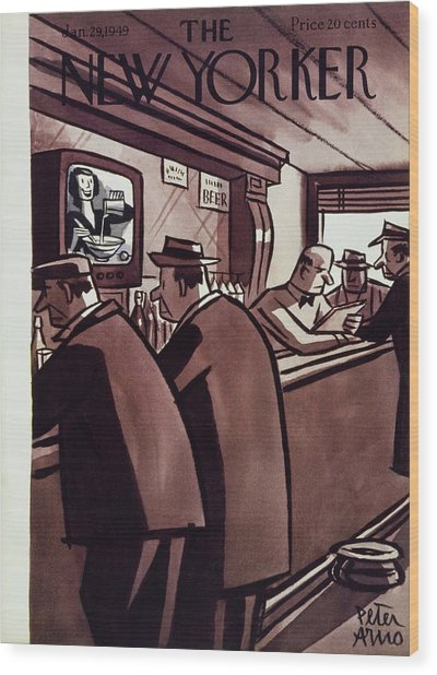 New Yorker Magazine Cover Of Men In A Bar Wood Print by Peter Arno