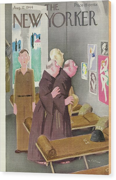 New Yorker Magazine Cover Of Monks Staring Wood Print by William Cotton