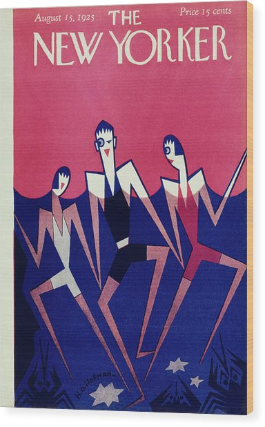 New Yorker Magazine Cover Of People Swimming Wood Print