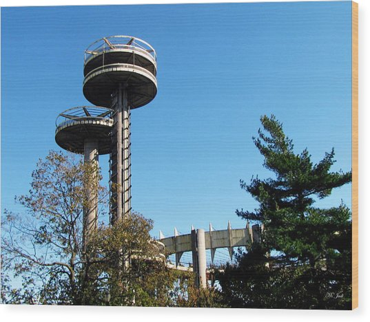 New York's 1964 World's Fair Observation Towers Wood Print
