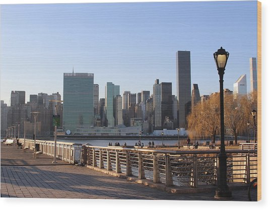 New York's Skyline - A View From Gantry Plaza State Park Wood Print