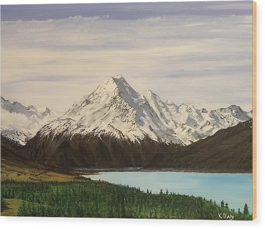 New Zealand Lake Wood Print