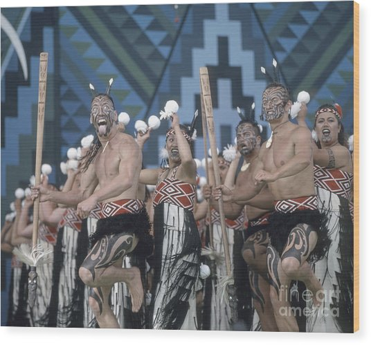 Wood Print featuring the photograph New Zealand,north Island,  Rotorua Arts Festival,dance And Singi by Juergen Held