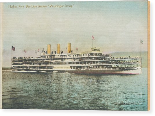 Newburgh Steamers Ferrys And River - 30 Wood Print