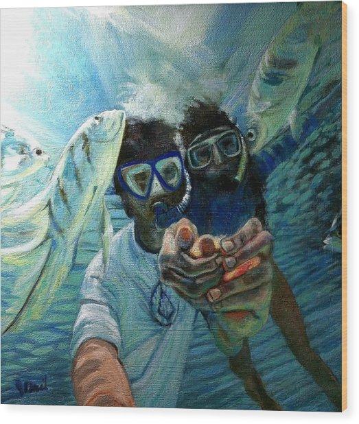 Honeymoon Selfie Wood Print