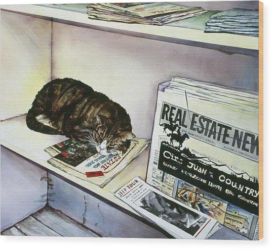 Newpaper Cat Wood Print