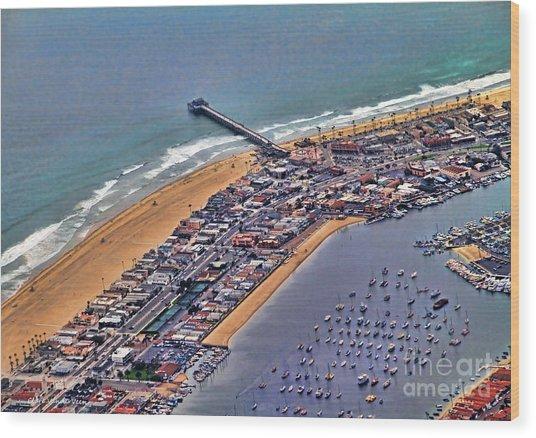 Newport Beach Flyover Wood Print