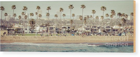 Newport Beach Skyline Vintage High Resolution Panorama Photo Wood Print by Paul Velgos