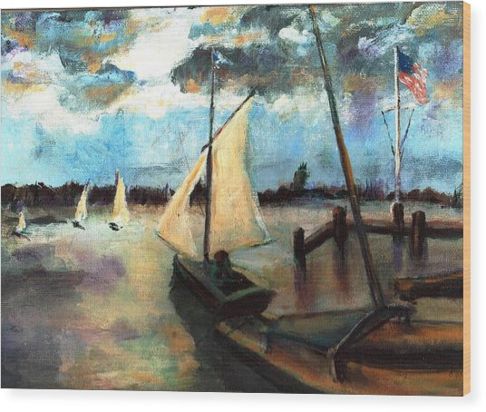 Newport Moonlight Sail Wood Print by Randy Sprout