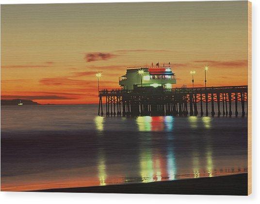 Newport Pier After Sunset Wood Print