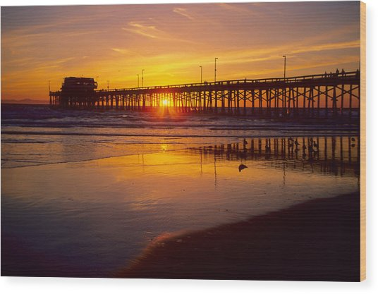 Newport Pier Sunset Wood Print