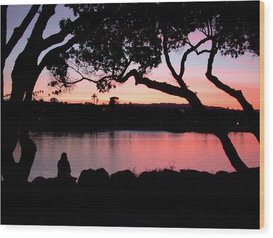 Newport Sunset Wood Print