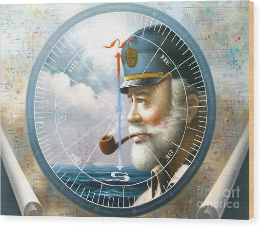 News  Map Captain  Or  Sea Captain Wood Print