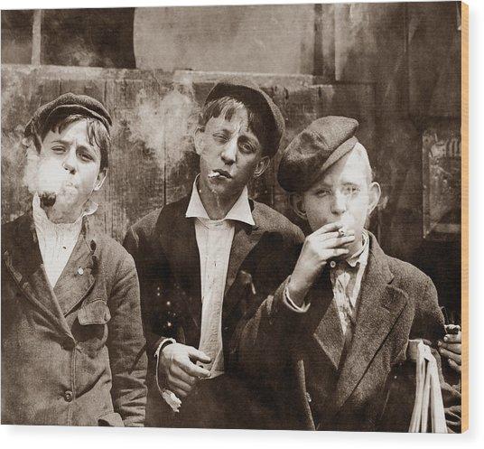 Newsboys Smoking - 1910 Child Labor Photo Wood Print