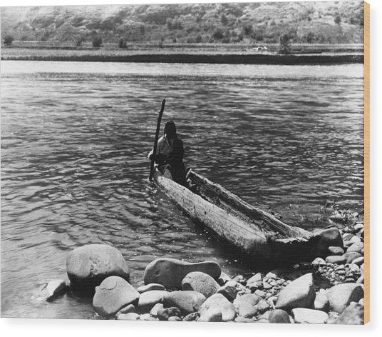 Nez Perc� Canoe. Nez Perc� Man Wood Print by Everett