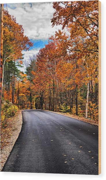 Nh Autumn Road 1 Wood Print
