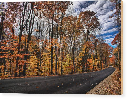 Nh Autumn Road 2 Wood Print