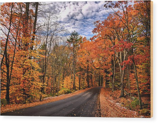 Nh Autumn Road 4 Wood Print