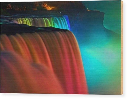 Niagara Falls At Night Wood Print