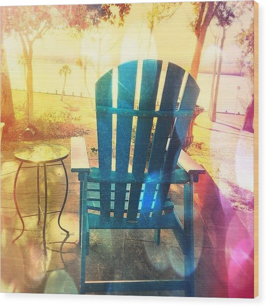 Nice View Of The River #chair #views Wood Print