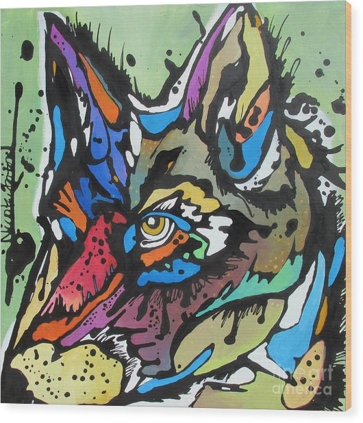Nico The Coyote Wood Print