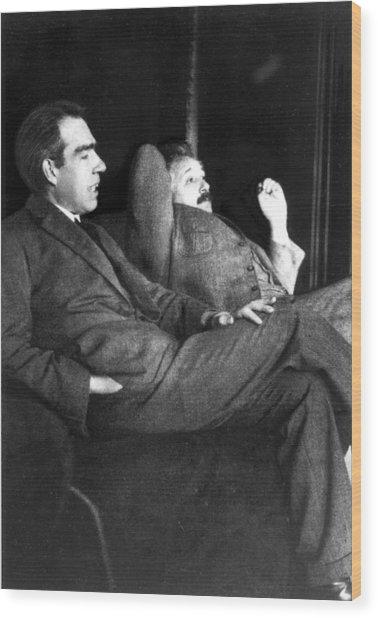 Niels Bohr And Albert Einstein Wood Print