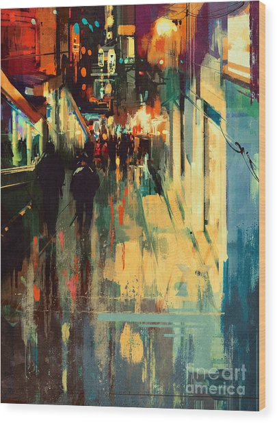 Wood Print featuring the painting Night Alleyway by Tithi Luadthong