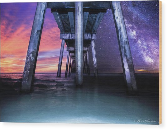 Night And Day Difference- Pensacola Beach Wood Print by Brent Shavnore