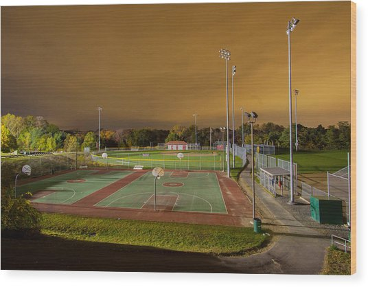 Night At The High School Basketball Court Wood Print