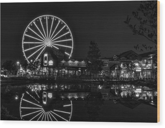 Night At The Island In Black And White Wood Print