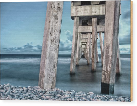 Night At The Pier Wood Print