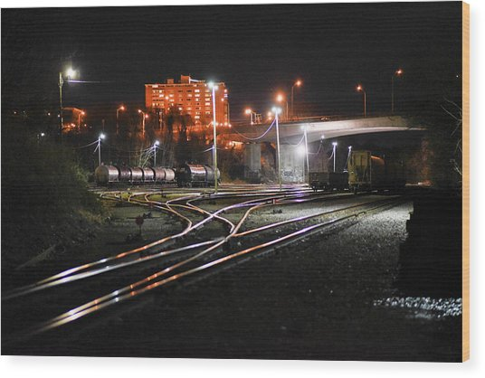 Night At The Railyard Wood Print