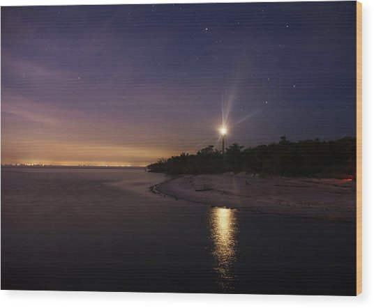 Night At The Sanibel Lighthouse Wood Print