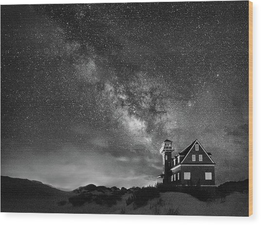 Night At The Station Wood Print