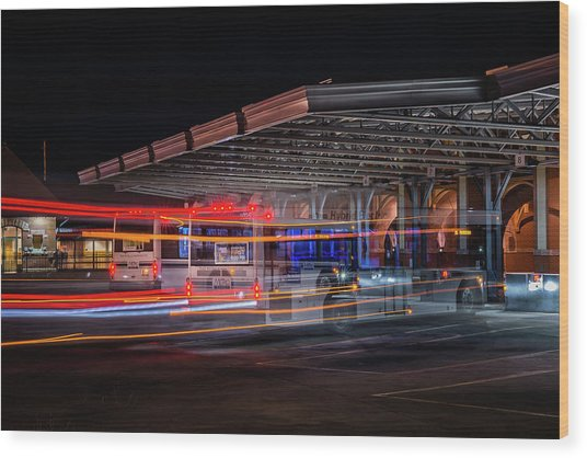 Night Bus Wood Print