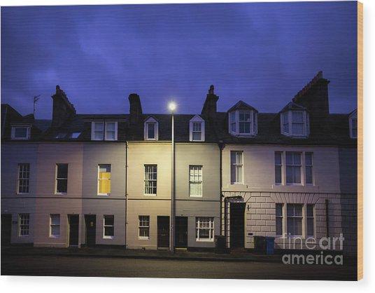 Night Darkens The Street Wood Print