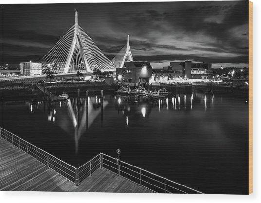 Night Falling On Zakim Bridge Wood Print