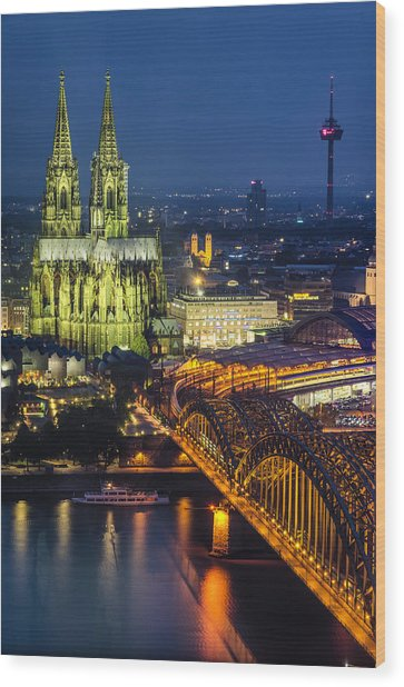 Night Falls Upon Cologne 1 Wood Print