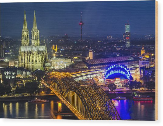 Night Falls Upon Cologne 2 Wood Print
