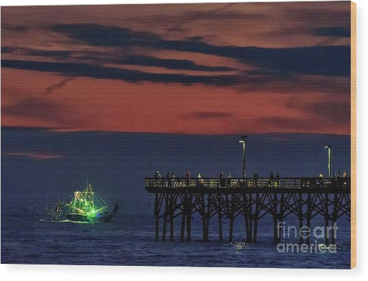 Night Fishing Wood Print