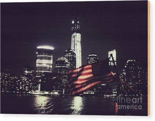Night Flag Wood Print