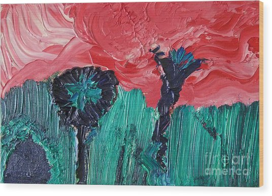 Night Flower Wood Print