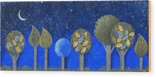 Night Grove Wood Print