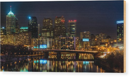 Night In The City Of Brotherly Love Wood Print