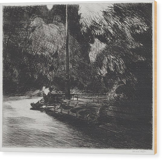 Night In The Park Wood Print